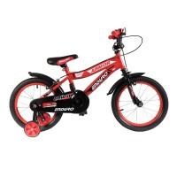 Bicicleta baieti cu roti ajutatoare BMX, 16 inch, 5-8 ani, Negru/Rosu