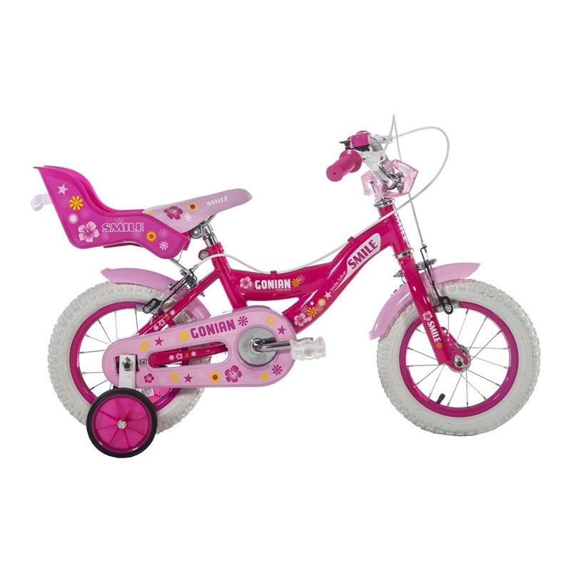 Bicicleta fete cu roti ajutatoare Gonian, 12 inch, 2-5 ani, Roz/Alb 2021 shopu.ro