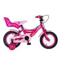 Bicicleta fete cu roti ajutatoare Gonian, 12 inch, 2-5 ani, Roz/Alb