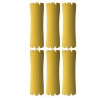 Set bigudiuri Oranjollie, 6 bucati, model tub, plastic, galben