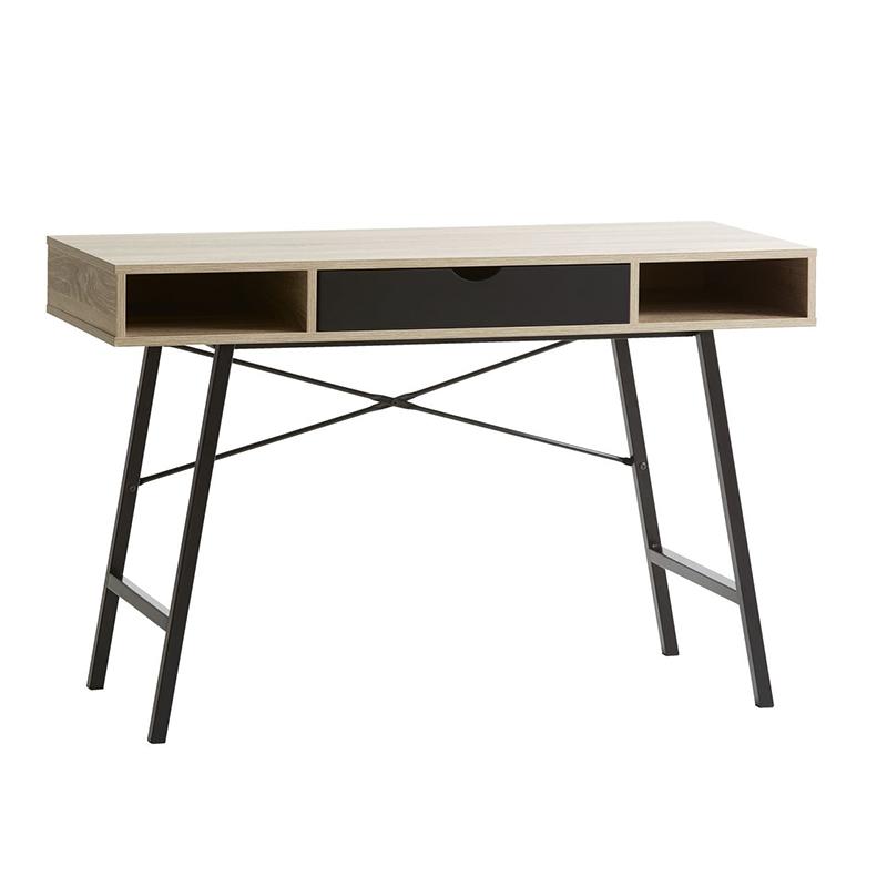 Birou cu sertar, 48 x 120 x 76 cm, MDF, Negru/Stejar 2021 shopu.ro
