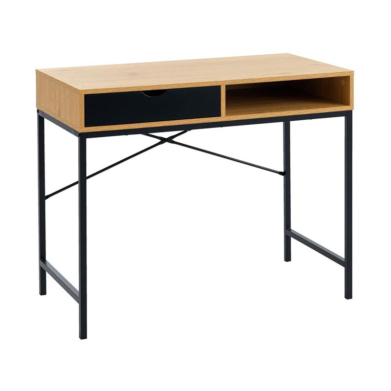 Birou cu sertar, 48 x 95 x 76 cm, MDF, Negru/Stejar 2021 shopu.ro