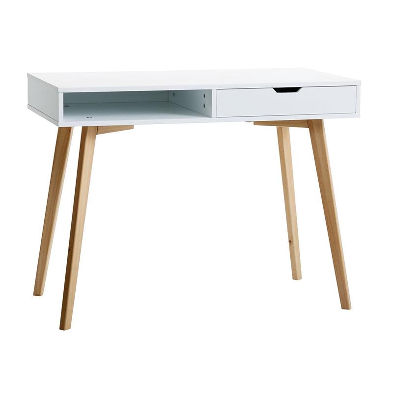 Birou cu sertar, 50 x 100 x 77 cm, MDF/lemn masiv, Alb/Bej 2021 shopu.ro