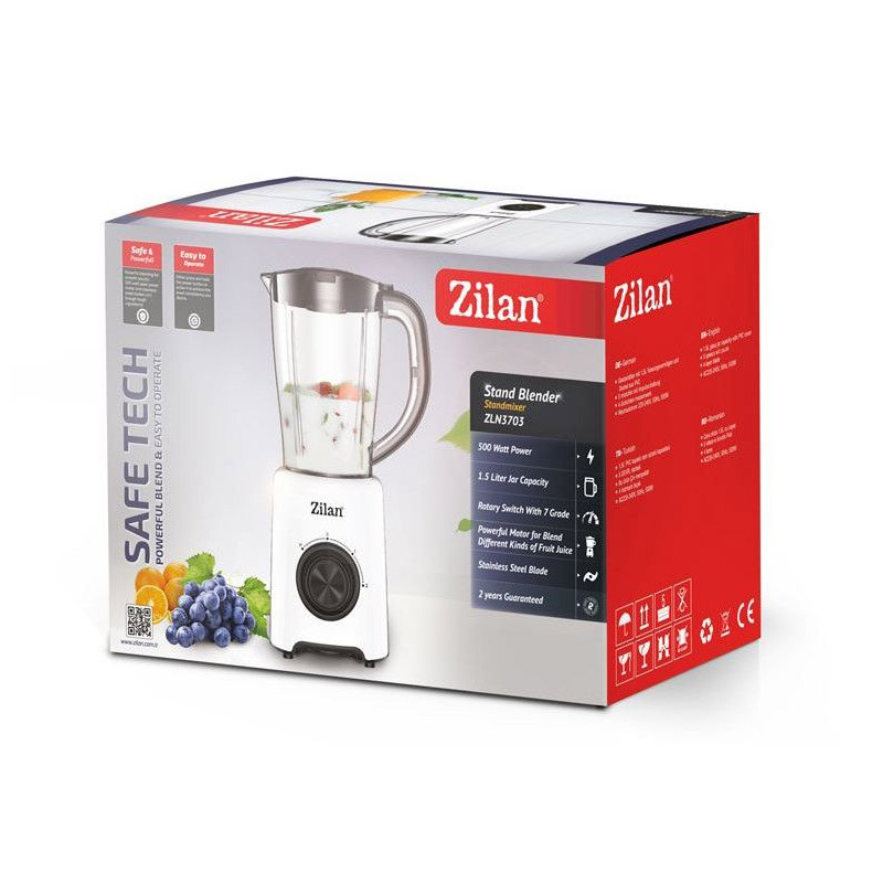 Blender Zilan, 500 W, 1.5 l, 2 viteze, lame inox, functie pulse