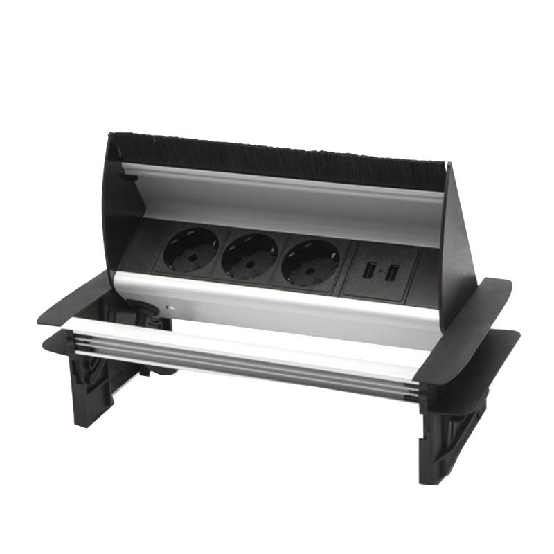 Bloc multipriza incorporabil Delight, 3500 W, 16 A, rabatabil, 2 x USB, 2.1A, 3 prize, Negru/Argintiu 2021 shopu.ro