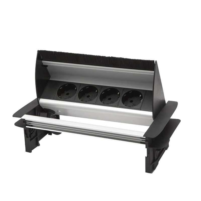 Bloc multipriza incorporabil Delight, 3500 W, 16 A, rabatabil, 4 prize, aluminiu, Negru/Argintiu 2021 shopu.ro