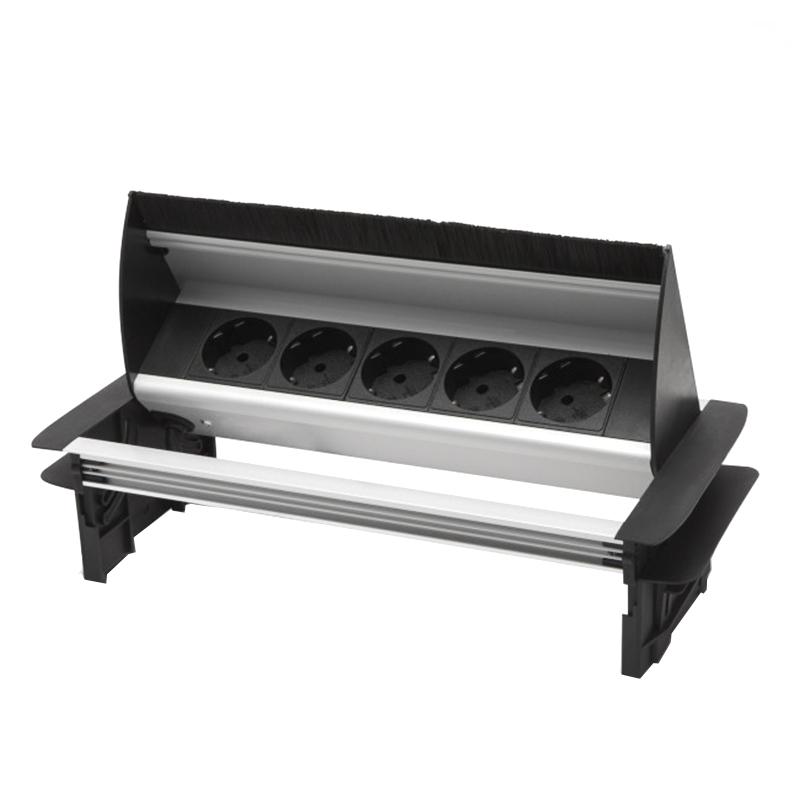 Bloc multipriza incorporabil Delight, 3500 W, 16 A, rabatabil, 5 prize, aluminiu, Negru/Argintiu 2021 shopu.ro