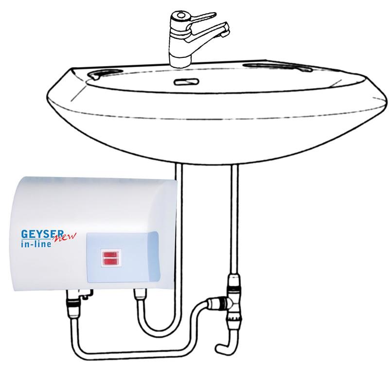 Boiler electric instantaneu GEYSER NEW In-line, 5000 W, chiuveta
