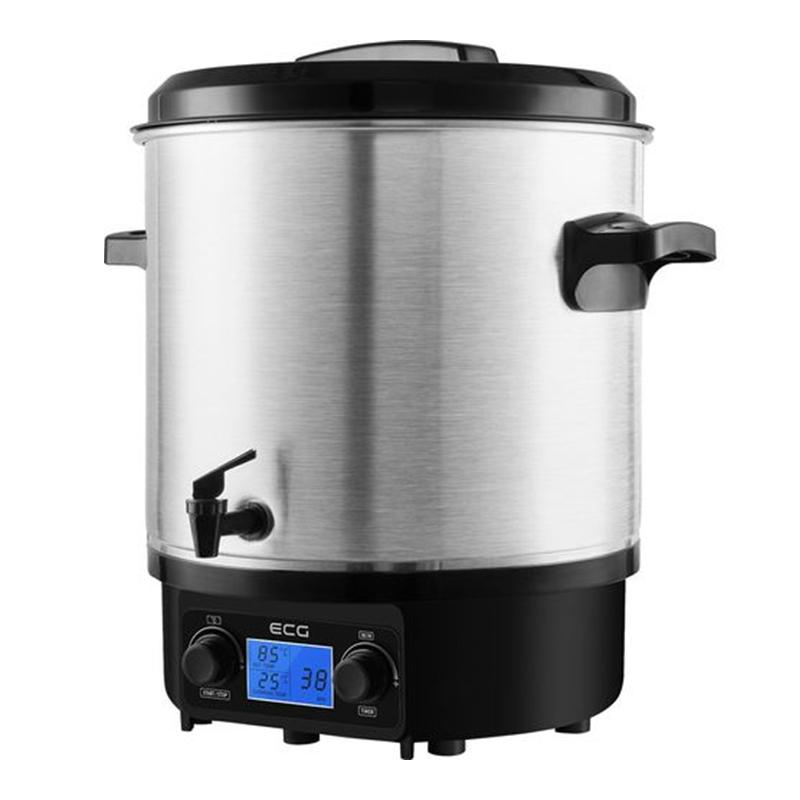 Boiler profesional de bauturi calde Ecg, 1800 W, 27 l, otel inoxidabil, panou control digital, gratar interior detasabil, Negru/Argintiu 2021 shopu.ro