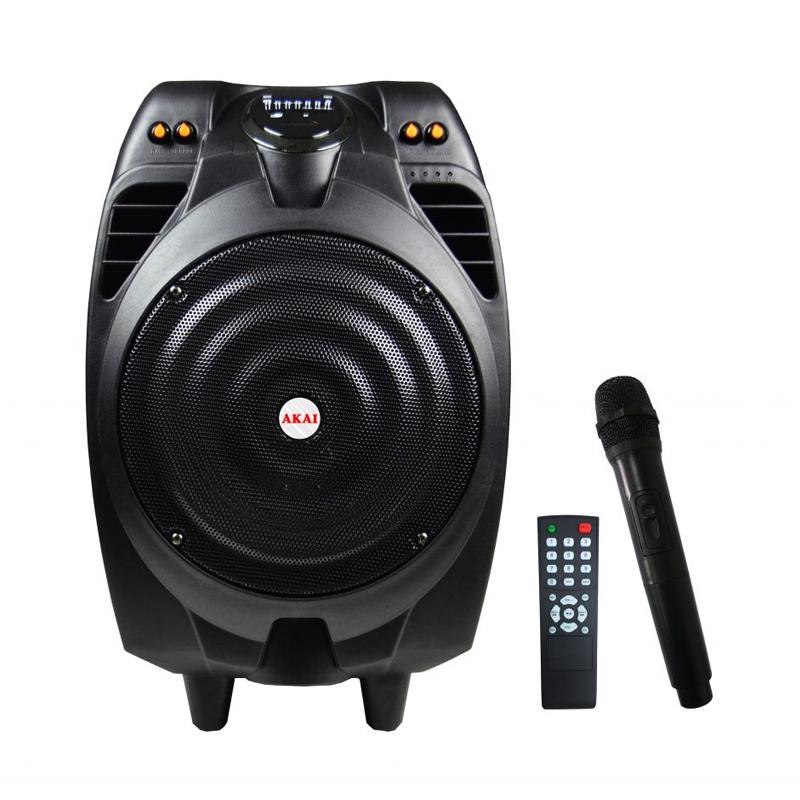 Boxa activa tip troler Bluetooth Akai, 50 W, USB, radio FM, functie inregistrare, microfon 2021 shopu.ro