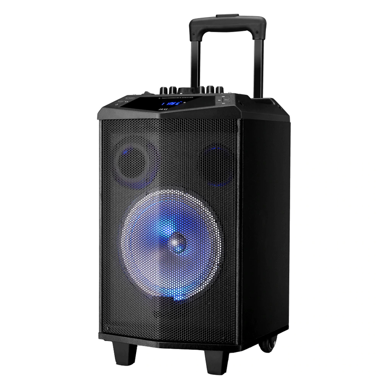 Boxa portabila Bluetooth Akai, 30 W, USB, radio FM, lumini disco, microfon fara fir 2021 shopu.ro