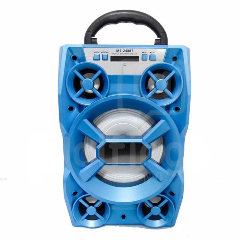 Boxa portabila Bluetooth MS248BT, 15 W, AUX, USB, card, radio FM, albastru