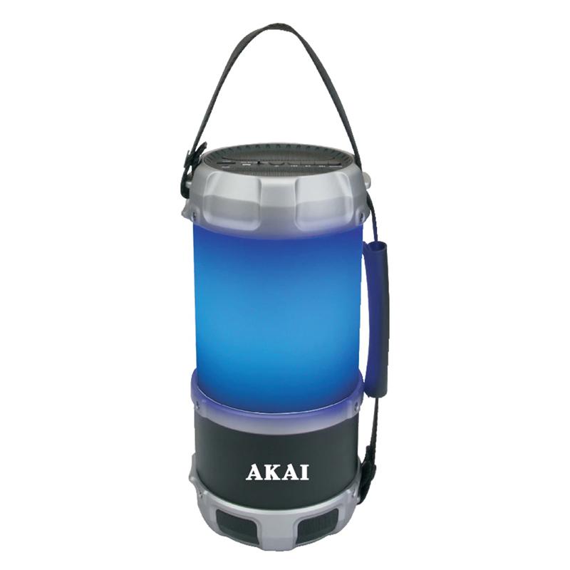 Boxa portabila Bluetooth tip felinar Akai, 16 W, USB, 10 m, 1 x Aux, radio FM, 3000 mAh, functie power bank, acumulator 2021 shopu.ro