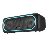 Boxa portabila activa Akai, 5.8 W, Bluetooth, USB, micro SD card slot, Aux in, functie True Wireless Sound, Negru