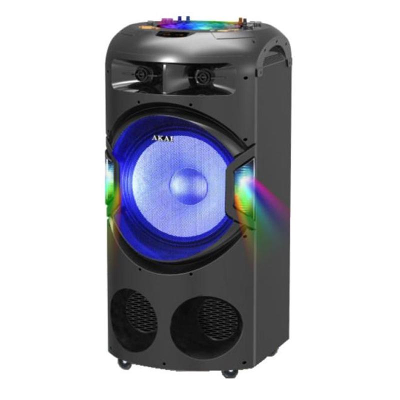 Boxa portabila activa DJ Akai, 120 W RMS, Bluetooth, LED, tweeter, functie karaoke, USB, SD, Bass/Treble, microfon 2021 shopu.ro