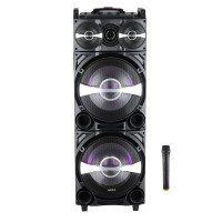 Boxa portabila activa DJ Akai, 80 W, Bluetooth, afisaj LED, radio FM, Aux-in, microfon, telecomanda
