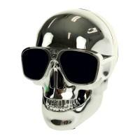 Boxa portabila bluetooth X18 Bones, 2000 mAh, model craniu, Argintiu