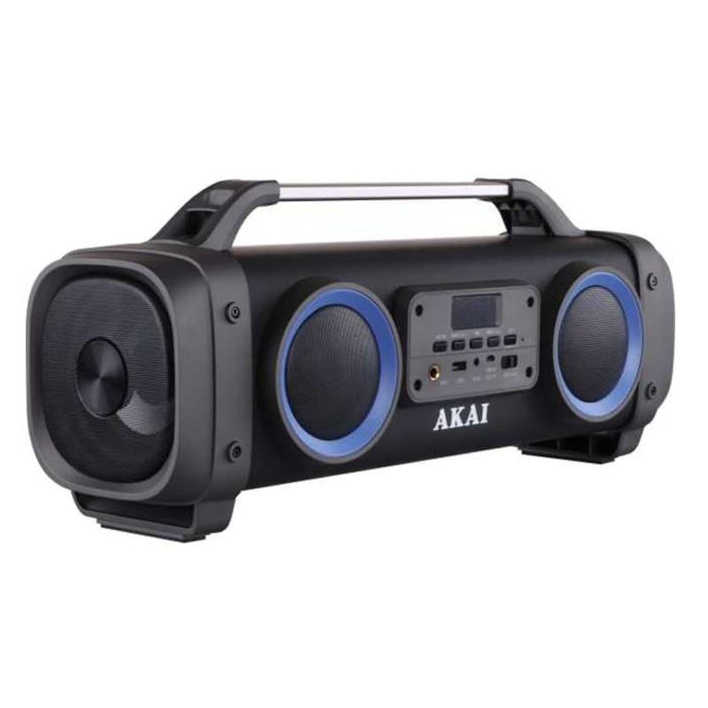 Boxa portabila bluetooth Akai, 3600 mAh, 10 m, USB, radio FM, egalizator, Negru 2021 shopu.ro