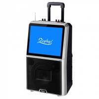 Boxa portabila cu ecran LED Zeohyr, 8 inch TV Tuner, bluetooth, Mp3, 2 microfoane, Negru