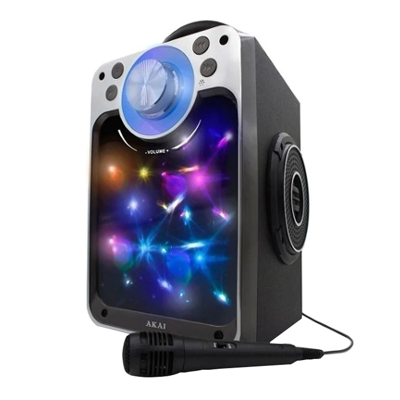 Boxa portabila karaoke Akai, 2 x 3 W, Bluetooth, USB, lumini disco, redare MP3, functie Line-In, microfon cu fir 2021 shopu.ro