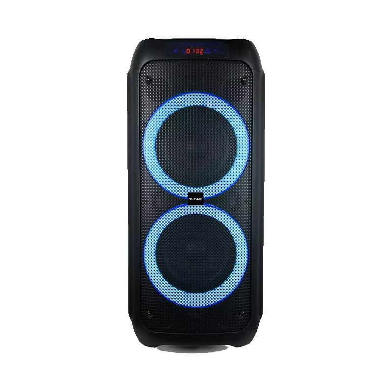 Boxa portabila V-TAC, 2 x 8 inch, 40 W, FM, USB, Aux, microfon cu fir, telecomanda inclusa, Negru