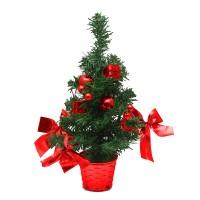 Brad artificial Family Pound, 30 cm, PVC, ornamente incluse, Verde/Rosu