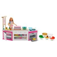 Bucatarie pentru papusi Barbie Mattel, 54 x 12.5 cm, 20 piese