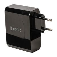 Adaptor universal Konig, 2 x USB, Negru