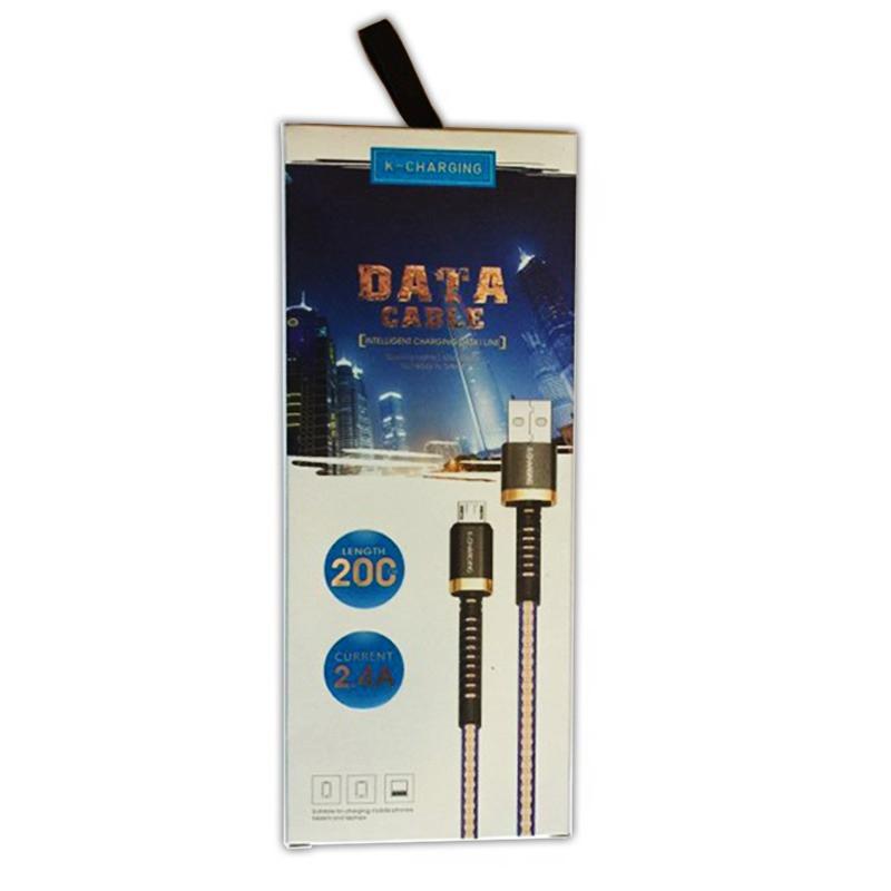 Cablu de date/incarcare K-Charging, microUSB - USB, 2 m, impletitura textila 2021 shopu.ro