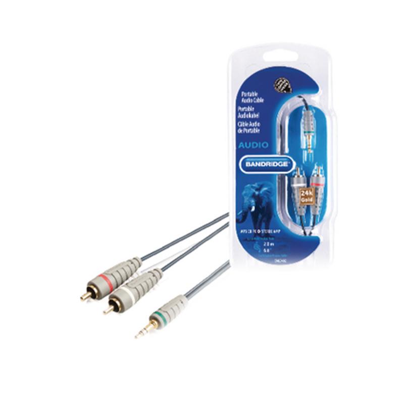Cablu audio stereo Bandridge, jack 3.5 mm tata, 2 x RCA tata, 2 m, Gri/Negru 2021 shopu.ro