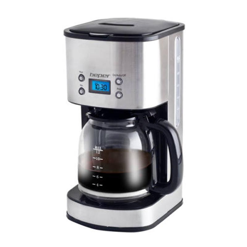 Cafetiera Beper, 1000 W, 1.5 l, 12 cesti, filtru detasabil, display LCD, timer