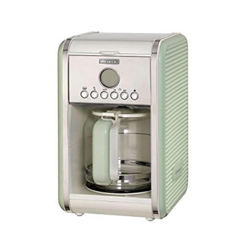 Filtru de cafea Vintage Ariete, 4-12 cesti, ecran LCD, recipient sticla, oprirea automata, timer, indicator luminos, plita incalzita, Verde 2021 shopu.ro