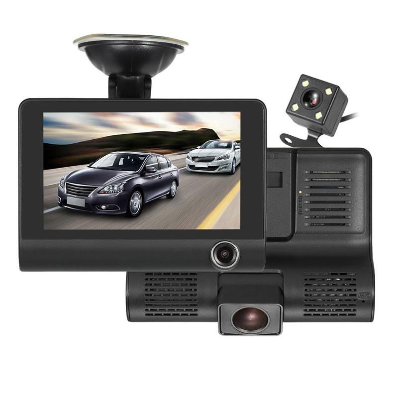 Camera auto DVR, 3 camere incluse, fata, spate si interior, ecran 4 inch 2021 shopu.ro
