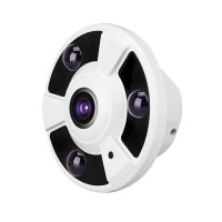 Camera supraveghere AHD CCTV, filmare 360 grade, LED, lentila 1.8 mm, Alb