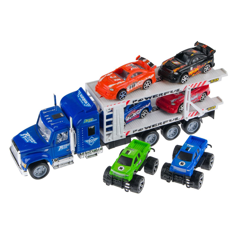 Camion tip transportor Powerful Truck, scara 1:32, 6 masinute