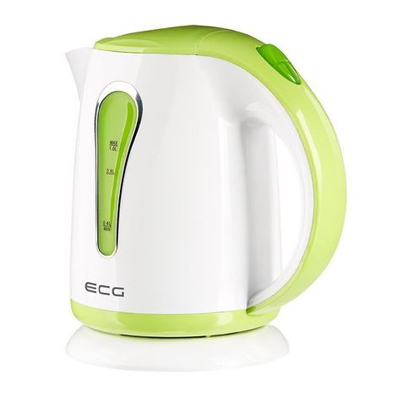Cana electrica tip fierbator ECG, 1100 W, 1 l, plastic, Alb/Verde 2021 shopu.ro