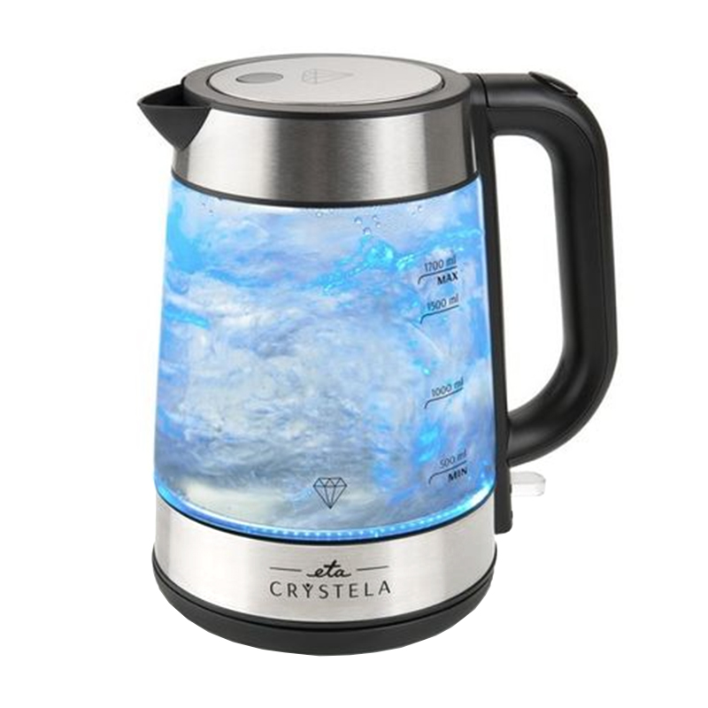Cana fierbator Eta Crystela, 2200 W, 1.7 l, sticla, iluminare LED albastra 2021 shopu.ro