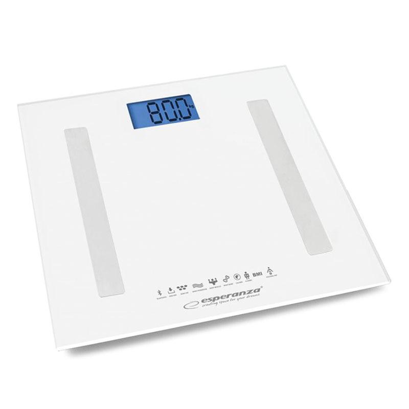 Cantar baie B.Fit Esperanza, sticla, bluetooth, LCD, 30 x 30 cm, 180 kg, Alb