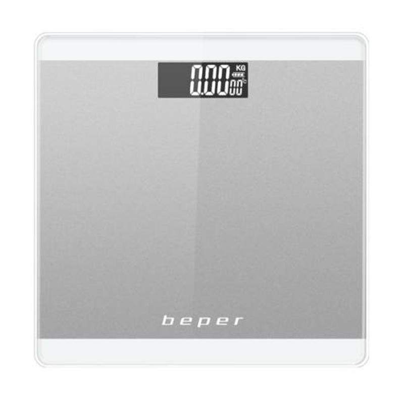 Cantar corporal Beper, 180 kg, display LCD, platforma sticla, Argintiu 2021 shopu.ro