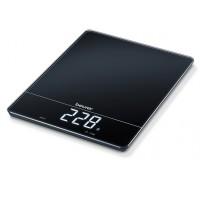 Cantar de bucatarie XL Beurer, 15 kg, LED, functie TARA, sticla, Negru