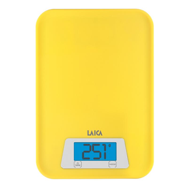 Cantar de bucatarie compact Laica, 3 kg, functie TARA, Galben 2021 shopu.ro