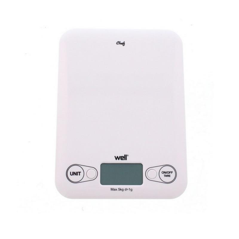 Cantar digital de bucatarie Well, maxim 5 kg, alb