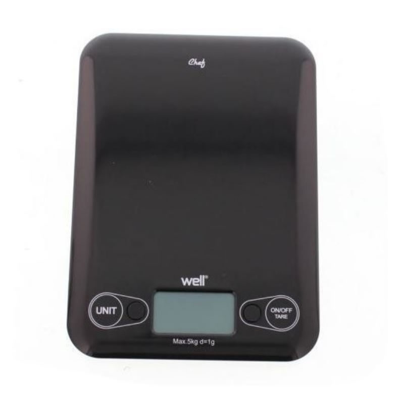 Cantar digital de bucatarie Well, maxim 5 kg, negru