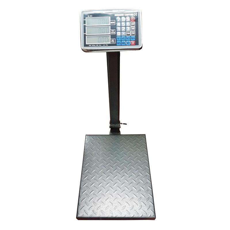 Cantar electronic cu acumulator, 350 kg, display LCD, 7 memorii, platan metalic shopu.ro