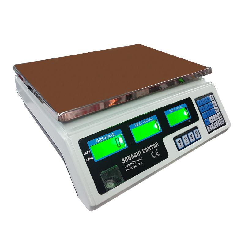 Cantar electronic cu afisaj dublu YZ208C, capacitate 40 kg, functie TARA, acumulator shopu.ro
