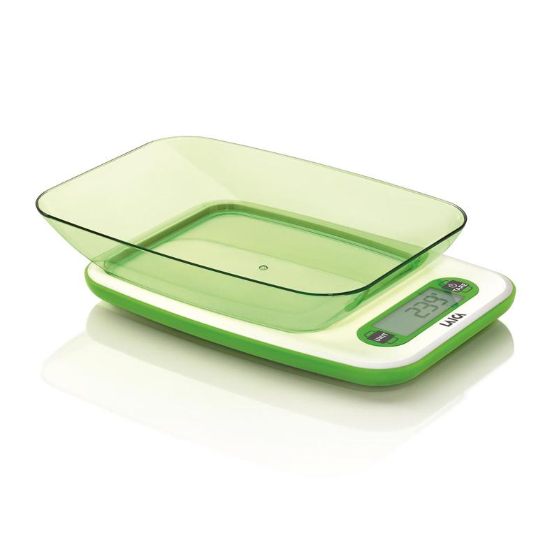 Cantar bucatarie cu bol Laica, 5 kg, display LCD, functie TARA, Verde 2021 shopu.ro