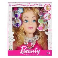 Cap papusa Barbie pentru coafat, accesorii incluse, 24 cm, 3 ani+