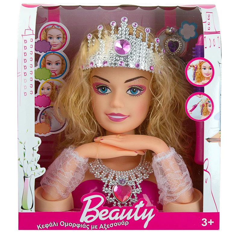 Cap papusa Barbie pentru machiaj, coronita, 3 ani+