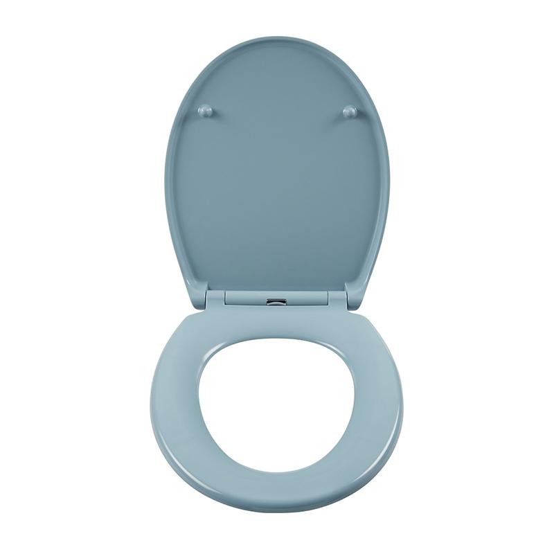 Capac WC Cooke and Lewis, 90-190 mm, maxim 150 kg, termoplastic, inchidere lenta, forma rotunda, Albastru shopu.ro