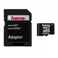 Card microSDHC Hama, capacitate 16 GB, adaptor inclus